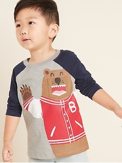 Critter-Graphic Color-Blocked Raglan Tee for Toddler Boys