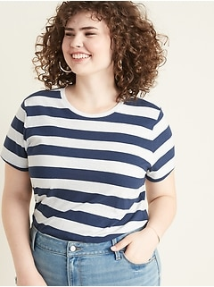 Slim-Fit Slub-Knit Rugby-Stripe Plus-Size Tee