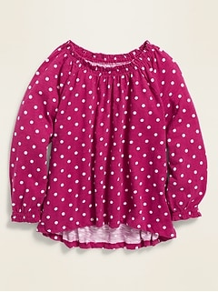 Smocked-Neck Slub-Knit Top for Girls