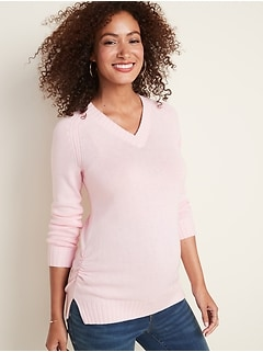 Maternity Side-Ruched V-Neck Sweater