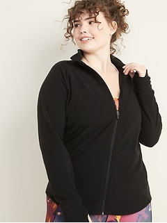 Semi-Fitted Micro Performance Fleece Plus-Size Zip Jacket