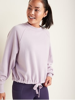Loose Dolman-Sleeve Drawstring-Hem Sweatshirt for Women