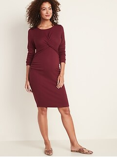 Maternity Plush-Knit Twist-Front Bodycon Dress