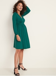 Maternity Waist-Defined Cross-Front Jersey Dress