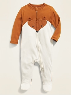 Fox-Graphic Footed One-Piece for Baby