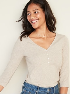 Slim-Fit Rib-Knit Henley for Women