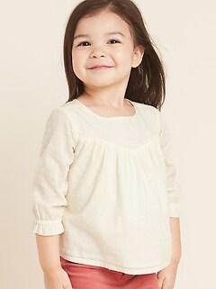 Swiss-Dot Babydoll Top for Toddler Girls