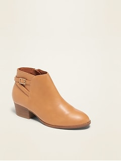 Faux-Leather Ankle Boots for Girls