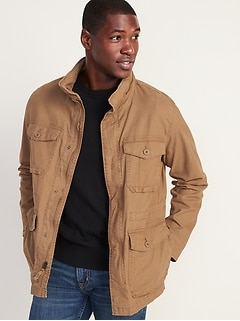 Built-In Flex Stowaway-Hood Military Jacket for Men