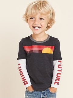 Graphic 2-in-1 Thermal-Sleeve Tee for Toddler Boys