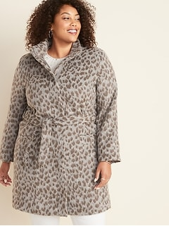 Oversized Soft-Brushed Plus-Size Funnel-Neck Cheetah-Print Coat