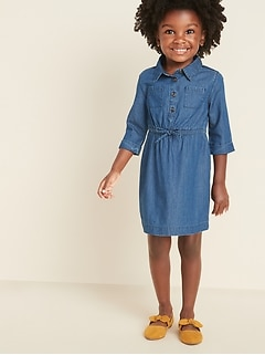 Chambray Cinched-Waist Shirt Dress for Toddler Girls