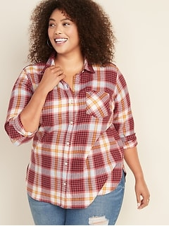 Plaid Flannel No-Peek Plus-Size Classic Shirt