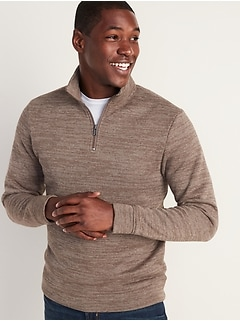 Mock-Neck 1/4-Zip Fleece-Knit Pullover for Men