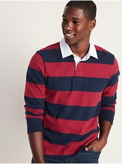 Bold-Stripe Long-Sleeve Rugby for Men