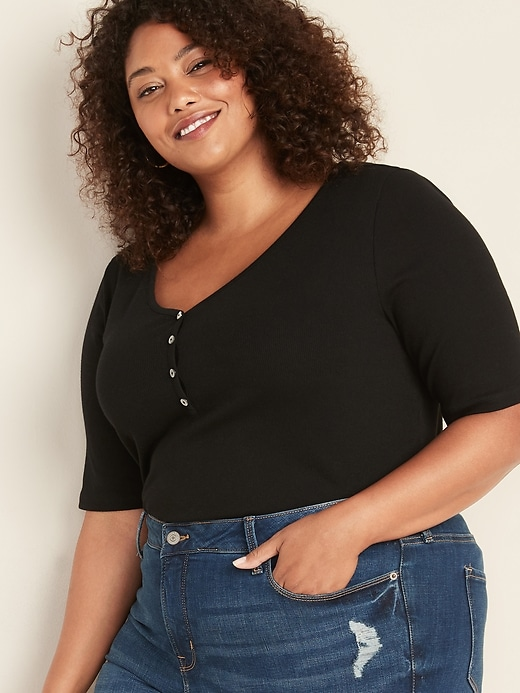 Slim-Fit Rib-Knit Plus-Size Henley