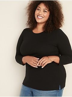 Slim-Fit Rib-Knit Plus-Size Tee