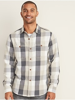 Regular-Fit Plaid Pocket Shirt for Men