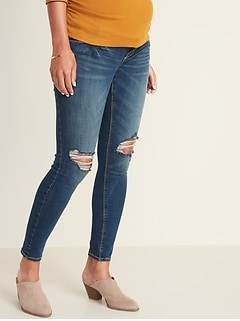Maternity Premium Full-Panel Distressed Rockstar Jeans