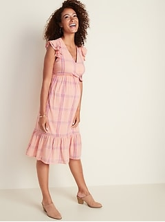 Maternity Ruffle-Trim Tiered Plaid Midi Dress