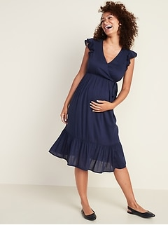 Maternity Ruffle-Trim Wrap-Front Tiered Midi Dress