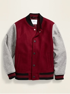 Soft-Brushed Color-Blocked Bomber Jacket for Boys