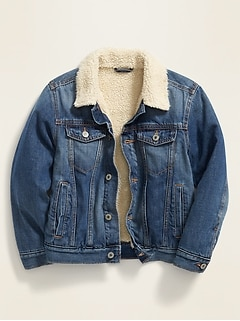 Sherpa-Lined Denim Trucker Jacket for Boys