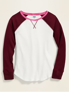 Color-Blocked Thermal-Knit Raglan-Sleeve Tee for Girls