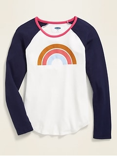 Graphic Plush-Knit Raglan-Sleeve Tee for Girls