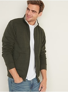 Sherpa-Lined Mock-Neck Zip Jacket for Men
