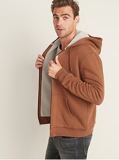 Sherpa-Lined Zip Hoodie for Men
