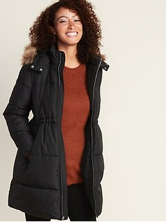 Maternity Hooded Frost-Free Long-Line Puffer Jacket