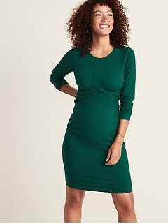 Maternity Twist-Front Bodycon Dress