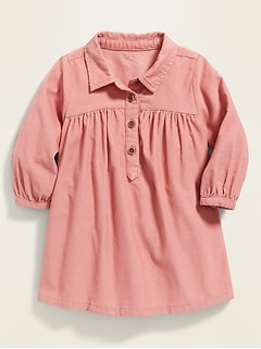 Corduroy Henley Shirt Dress for Baby