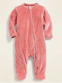 Velour Debossed-Star Footed One-Piece for Baby