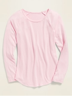 Plush-Knit Raglan-Sleeve Tee for Girls