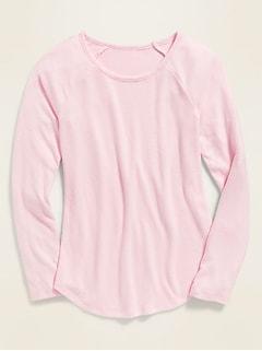 Plush-Knit Raglan-Sleeve Tee for Girls