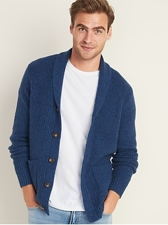 Thick-Textured Shawl-Collar Cardigan for Men