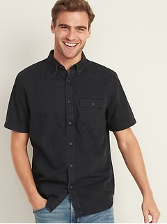 Slim-Fit Black Jean Shirt for Men