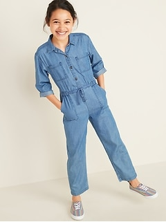 Button-Front Utility-Pocket Jumpsuit for Girls