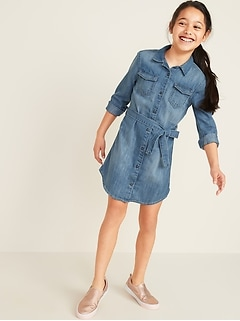 Tie-Belt Denim Shirt Dress for Girls