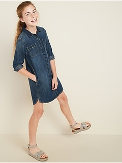 Dark-Wash Denim Shirt Dress for Girls
