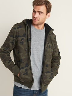 Camo-Print Sherpa-Lined Zip Hoodie for Men