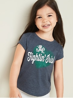 College-Team Heart Graphic Tee for Toddler Girls
