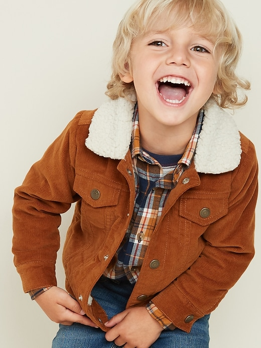 Sherpa-Lined Corduroy Trucker Jacket for Toddler Boys