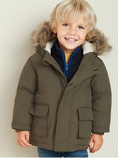 Hooded Faux-Fur Trim Parka for Toddler Boys