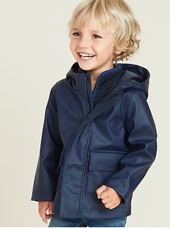 Water-Resistant Hooded Rain Jacket for Toddler Boys