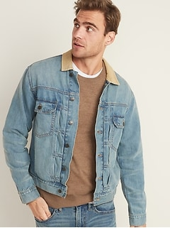 Corduroy-Collar Jean Jacket For Men