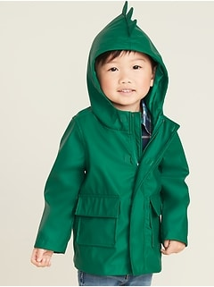 Water-Resistant Hooded Dinosaur Rain Jacket for Toddler Boys