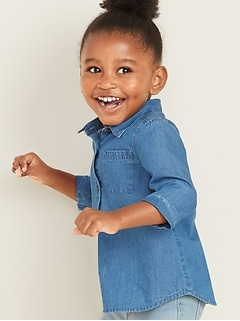 Chambray 3/4-Sleeve Tunic Shirt for Toddler Girls